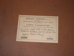 CARTE D'ADMISSION A L'ASSEMBLEE FELIX POTIN, 23/10/1941 Maison Des Centraux PARIS - Cartes De Visite