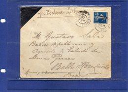 ##(ROYBOX1)-Postal History-France 1915-Cover From Marseille  To Bello Horizonte - Brazil, Via Bordeaux-Lisbon - Francia