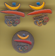 48755-lot De 3  Pin's..Jeux Olympiques.Barcelone.. - Olympic Games