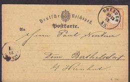 Germany Deutsche Reichspost Postkarte (Mi. 18) ½ Gr Grossem Brustschild DRESDEN 1872 BERTHELSDORF B/ Hernhut (2 Scans) - Briefe U. Dokumente