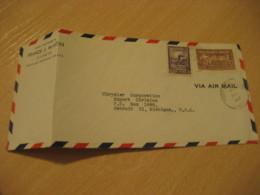 PORT-AU-PRINCE 1947 To Detroit USA Capois-La-Mort Stamp Air Mail Cover HAITI Greater Antilles West Indies - Haïti