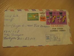 PORT-AU-PRINCE 1972 To The Pentagon Washington USA Registered Cancel Air Mail Cover HAITI Antilles West Indies - Haïti