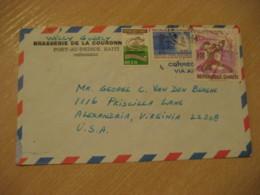 PORT-AU-PRINCE 1973 To Alexandrie USA 3 Stamp Cancel Air Mail Cover HAITI Antilles West Indies - Haïti