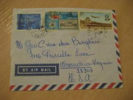 PORT-AU-PRINCE 1972 To Alexandria USA 3 Stamp Cancel Air Mail Cover HAITI Antilles West Indies - Haïti