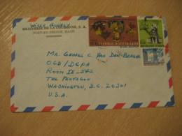 PORT-AU-PRINCE 197? To The Pentagon Washington USA 3 Stamp Cancel Air Mail Cover HAITI Antilles West Indies - Haïti