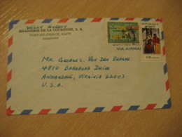 PORT-AU-PRINCE 197? To Annandale USA 2 Stamp Cancel Air Mail Cover HAITI Antilles West Indies - Haïti