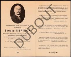 Doodsprentje Edmond Nerincx °1846 †1917 Hal/Halle Premier Vice-Président De La Chambre Des Representants (G1) - Obituary Notices