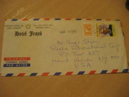 Hotel Irazu 1975 To Mount Vernon New York USA Stamp Cancel Air Mail Cover PANAMA - Panama