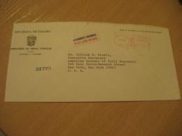 Panama Ministerio De Obras Publicas 1968 To New York USA Cancel Meter Air Mail Cover PANAMA - Panama