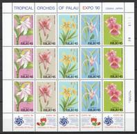 X530 1990 PALAU FLORA NATURE FLOWERS TROPICAL ORCHIDS OF PALAU 1SH MNH - Orchidées