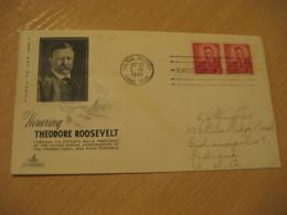 BALBOA HEIGHTS 1949 To Indianapolis USA Theodore Roosevelt FDC Cancel Cover PANAMA CANAL ZONE C.Z. CZ USA - Panama