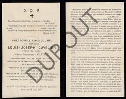 Doodsprentje Louis-Joseph Cuvelier °1840 Halle †1901 Burgemeester Halle / Echtg. Marie-P. Carlier (G2) - Obituary Notices