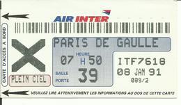AIR INTER - Carte D'Embarquement/Boarding Pass - 1991 - TOULOUSE / PARIS CDG - Boarding Passes