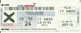 AIR INTER - Carte D'Embarquement/Boarding Pass - 1991 - PARIS CDG / TOULOUSE - Boarding Passes