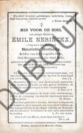 Doodsprentje Emile Nerinckx °1812 Halle †1892 Oud Burgemeester Halle / Ridder Van Het Leopold's Orde (G3) - Décès
