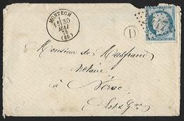 1874 - FRANCE - Cover - Y&T 60C + MONTECH - BORDEAUX - ARRAS - 1871-1875 Cérès