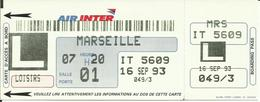 AIR INTER - Carte D'Embarquement/Boarding Pass - 1993 - PARIS ORLY / MARSEILLE - Boarding Passes