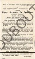 Doodsprentje Egide, Seraphin De Beukelaer °1882 Terhagen Rumst †1943 Oud Burgemeester Terhagen Echtg.Maria Somers  (G4) - Décès