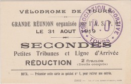 CARTE TICKET VÉLODROME DE TOURS 31 Août 1919  Cyclisme - Tickets D'entrée