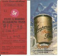 LLOYD AEREO BOLIVIANO - Carte D'Embarquement/Boarding Pass -1988 - LA PAZ / LIMA - Boarding Passes