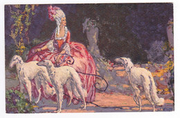 Illustrateur W. Klett N°605 Art Déco Belle Dame Marquise Avec 3 Chiens Lévriers - Illustrateurs & Photographes