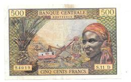 Billet De 500 Francs Etats De L'Afrique Equatoriale Lettre D - Billets