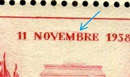 Variété - N°Yvert 403 - 1 Exemplaire Avec Petit Filet Rouge Sur Novembre Tenant à Normal - Neufs Luxe - Ref V 662 - Variedades Y Curiosidades