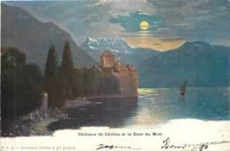 SUISSE -  CHATEAU DE CHILLON ET LA DENT DU MIDI - VD Vaud