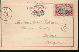 BELGIAN CONGO 1910 ISSUE 10C ON PC  FROM DUNGU VIA ABA TO ANTWERPEN - Congo Belge