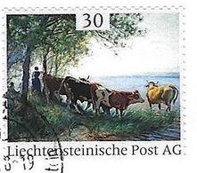Liechtenstein O 2018: Kühe (Gemälde) Vaches (peinture)  - Cows (painting)  O SCHAAN 13.6.18 (Die Marke.Li) SELTEN / RARE - Vaches