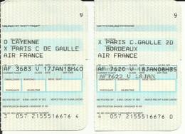 AIR FRANCE - Carte D'Embarquement/Boarding Pass -1988 - CAYENNE / PARIS CDG / BORDEAUX - Boarding Passes