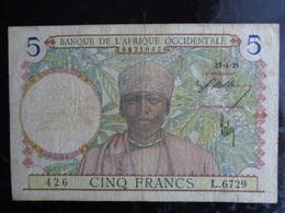 BANQUE DE L'AFRIQUE OCCIDENTALE 5 FRANCS DU 27 AVRIL 1939 - West African States