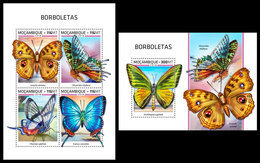 MOZAMBIQUE 2018 - Butterflies, M/S + S/S. Official Issue - Insects