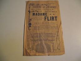 Programme, Publicité, THÉÂTRE DE L'ATHÉNÉE, Mme FLIRT,vers 1901 - Programmes