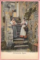 Istrianische Typen Gros Plan Dans Un Escalier De 2 Femmes En Costume Traditionnel Croate Croatie - Croatia