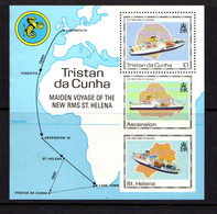 TRISTAN  DA  CUNHA    1990    Maiden  Voyage  Of  St  Helena II   Sheetlet    MNH - Tristan Da Cunha