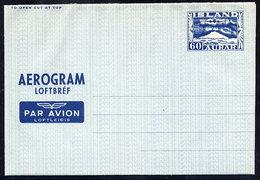 ICELAND 1949  60 Aur. Aerogramme, Unused.  Michel LF1 - Entiers Postaux