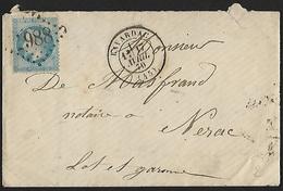 1868 - FRANCE - Cover - Y&T 29B [Napoléon III] + LAVARDAC & ARRAS - 1863-1870 Napoléon III Lauré