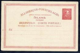ICELAND 1901  Christian IX 10 Aur. Postcard Unused.  Michel P34 - Entiers Postaux