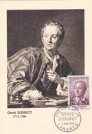 Denis Diderot   No 1168 Sur Carte Maximum CaD De Langres Du 7 Juin 1958 - Maximum Cards