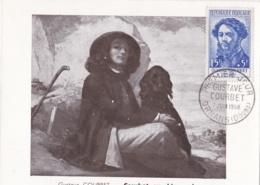 """Gustave Courbet   No 1169 Sur Carte Maximum Tableau """" Courbet Au Chien Noir """"  CaD De Ornans Du 7 Juin 1958 - Maximum Cards"""