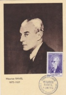 Maurice Ravel   No 1071 Sur  Carte Maximum   CaD De Ciboure Du 9 Juin 1956 - Cartes-Maximum
