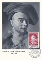 Maurice Quentin De La Tour No 1110 Sur Carte Maximum CaD De St Quentin Du 15 Juin 1957 - Maximum Cards