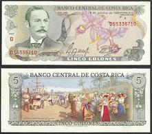 COSTA RICA - 5 Colones 1989 P# 236d America Banknote - Edelweiss Coins - Costa Rica