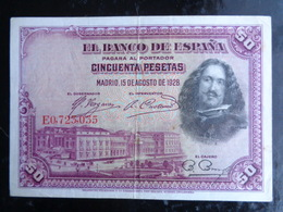 TRES TRES BEAUX 50 PESETAS DU 15 AOUT 1928 - EL CAJERO - [ 1] …-1931 : First Banknotes (Banco De España)