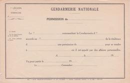 MILITARIA - DOCUMENT GENDARMERIE NATIONALE - TITRE DE PERMISSION - IMPR CHARLES LAVAUZELLE - Documents