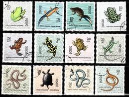 POLOGNE / SERIE DE 12 TIMBRES BATRACIENS ET REPTILES - Turtles