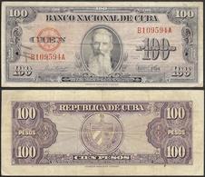 CUBA - 100 Pesos 1954 P# 82b America Banknote - Edelweiss Coins - Costa Rica