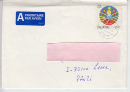 ISLANDA 1993 - Unificato 749 Su Lettera Per L'Italia - Natale - 1944-... Republique
