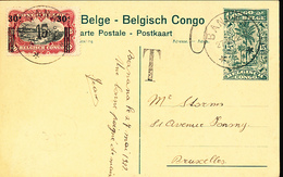 BELGIAN CONGO PPS 1922 ISSUE STIBBE 61 VIEW 84 USED BANANA 27.05.1922 UNOFFICIAL OVERPRINT ON THE STAMP O NUL + T - Entiers Postaux